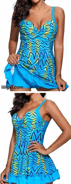 2eded626461 Sweetheart Neckline Frill Hem Printed One Piece Swimdress  liligal   swimwear  swimsuit Swim Cover