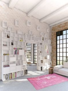 """I love how this shelving is the feature of this space, not just a piece of furniture placed in a room, The varied depths and sizes of each section add so much interest. """"Cubit is a modular shelving system made from MDF. It consists of 25 formats in 8 depths and was made according to the exact standard measurements for book and music formats."""""""
