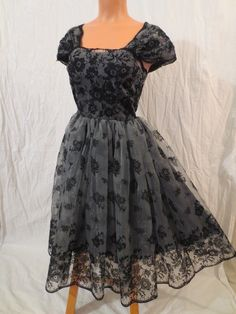 H&M chiffon & velvet party dress - $29.99 at JOHNNY BOMBSHELL #retro #chiffon #partydress #fullskirt #princess