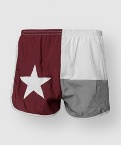 Texas A Running shorts featuring maroon, grey, and white colors to represent the Texas lonestar flag. Sits low on the hip for a comfortable and contemporary fit. Coolmax Alta Liner and venitalor mesh side panel keeps you cool during even the toughest workout.