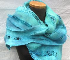 Felted Scarf with merino wool and silk fibers hand by IonaLoyola, $125.00