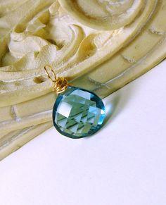 14K Gold London Blue Quartz Gemstone Charm, add a chain
