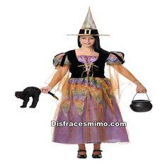 DisfracesMimo, disfraz de bruja luz optica para mujer adulto talla m.te convertirás en una malvada hechicera con ganas de hacer mil conjuros en tus fiestas temáticas, halloween.Este disfraz es ideal para tus fiestas temáticas de disfraces de bruja y miedo para mujer adulto