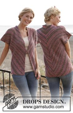 "Knitted DROPS vest worked diagonally in ""Fabel"". Size: S - XXXL. ~ DROPS Design"