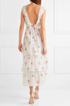 Brock #ad Collection - Dale Lace-trimmed Floral-print Cotton-voile Dress - White