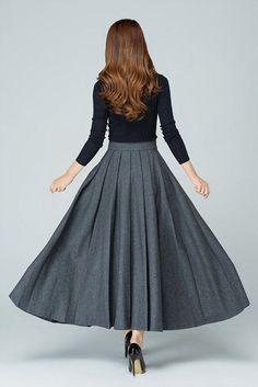 grey skirt long skirt wool skirt. pleated skirt ladies by xiaolizi