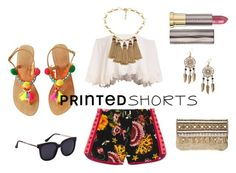 """Printed short"" by explorer-14672627297 ❤ liked on Polyvore featuring Boohoo, Gucci, Skemo, Urban Decay and printedshorts"