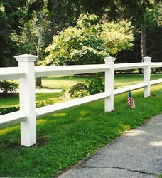 white split rail w/ capped posts Stained and shorter