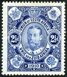 "Union of South Africa 1910 Scott 1 blue ""George V"" With the Union Parliament opening on November this lovely engraved pence blue was issued. Each corner has the coat of arms of the four founding provinces and ex-colonies."