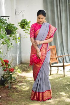 Hand Embroidery Beautiful blue and red color combination kanchi pattu saree with checks. Designer blouse with hand embroidery gold thread work on sleeve and neck line. 12 May 2018 - Pattu Saree Blouse Designs, Bridal Blouse Designs, Saree Color Combinations, Checks Saree, Sari Design, Bollywood, Soft Silk Sarees, Cotton Saree, Dress Neck Designs