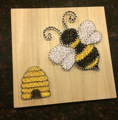 Bee and Bee Hive String Art, Wood, Bumble Bee and Beehive, Handmade, Made to Order String Art Templates, String Art Tutorials, String Art Patterns, Nail String Art, String Crafts, Bee Crafts, Arts And Crafts, 7 Arts, Diy Mothers Day Gifts