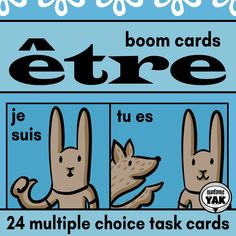 """With these French Boom cards, learn the verb """"être"""" in the present tense. Multiple-choice and drag-and-drop tasks confirm students' use of """"je suis"""" and """"tu es"""", for example. Illustrated to support understanding. French Teaching Resources, Teaching French, High School French, Core French, Teacher Boards, French Teacher, Multiple Choice, Learn French, Task Cards"""