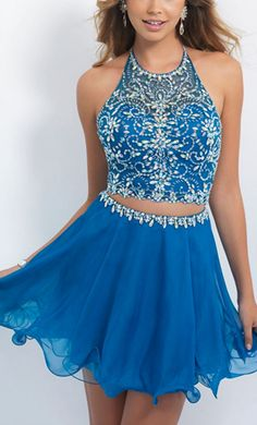 Homecoming Dress, Beading Blue Home