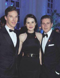 Benedict Cumberbatch, Michelle Dockery, Allen Leech. Aka Sherlock, Mary, and Sybil's not-a-Chauffeur-anymore husband. (SYBIL!! *cries*)