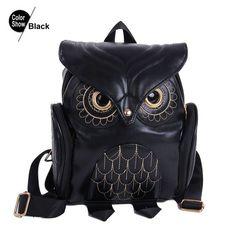 Backpack Women's Rucksack School Bag For Teenagers Girls PU leather Owl Cute Pink Fashion 2016 Satchel Mochila Bolsa Feminina