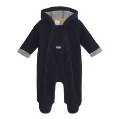 Keep your baby boy warm and snug in this navy bonded fleece all in one from Junior J by Jasper Conran. It has popper fastenings running through the sides for easy changing and a branded centre pocket.