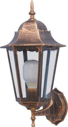 Kinkiet ogrodowy K-5006A - lampa ogrodowa ze szkłą i aluminium w kolorze czarnym i złotym.. http://lampa24.pl/kinkiet-ogrodowy-k-5006a,3,6319,5993