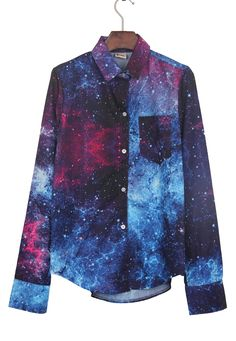 Navy Wing Collar Galaxy Print Curved Hem Blouse >> It's out of this world!!