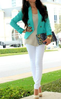 White skinnies, tan tank, aqua blazer, nude pumps, leopard print clutch