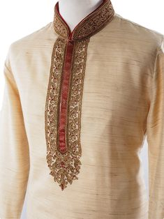 Mens Cream Kurta set with hand embroidery - Bollywood, Weddings, Fancy Dress - Punjabi Kurta Pajama Men, Kurta Men, Gents Kurta Design, Boys Kurta Design, Wedding Dresses Men Indian, Wedding Dress Men, Modern Filipiniana Dress, Kaftan, Mens Shalwar Kameez