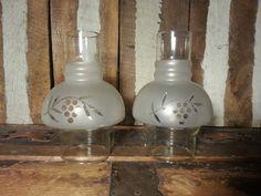 Set of 2 Pair Vintage Oil Kerosene Lamp Light Part by UrsMineNours