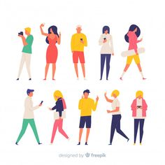 Colorful hand drawn people doing differe. Flat Design Illustration, People Illustration, Character Illustration, Digital Illustration, Graphic Illustration, Blonde Jungs, Character Flat Design, Human Icon, Diagram Design
