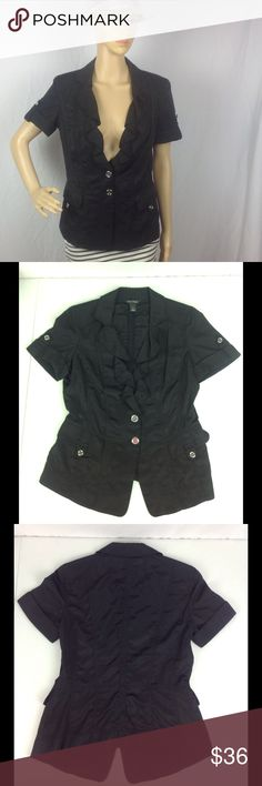 White House Black Market Short Sleeve Blazer Top 6 Pre-owned. Silver buttons. White House Black Market Tops Button Down Shirts