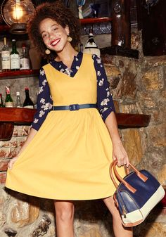 Zest of the Bunch A-Line Dress in Marigold. Youre not normally one to pick favorites, but this cotton dress demands an exception be made! #yellow #modcloth