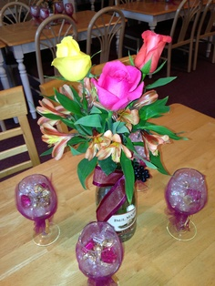 Wine themed bridal shower centerpieces and favors