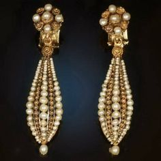 Victorian pearls gold filigree dangle clip earrings, circa 1850s