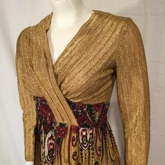 Vintage 70s Seventies Size 7 XS Extra Small Gold Metallic Lame Bejeweled Lounge Long Sleeve V Neck Dress with Red White Blue Persian Print by CarolinaThriftChick on Etsy