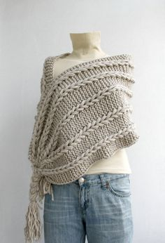 seejenknit:  So cool.Beige Scarf Shawl $69 by denizgunes on etsy