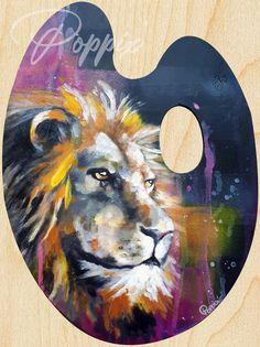 Acrylique/peinture/palettedepeintre/palette/lion/jungle/sauvage/roi/groschat/contemporain/peinture/réalisme/tableau/acrylique/illustration/graphisme/paint/Poppix' 37x28cm Palette, Illustration, Painting, Acrylic Board, King, Painted Canvas, Black N White, Graphic Design, Contemporary