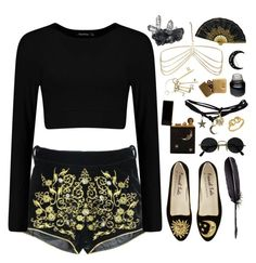 """I look inside myself and see my heart is black..."" by ginaisanerd ❤ liked on Polyvore featuring Wet Seal, Charlotte Russe, Maison Margiela and In God We Trust"