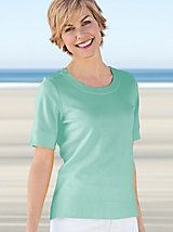 Women's Button-Trim Prima™ Cotton Top   Norm Thompson