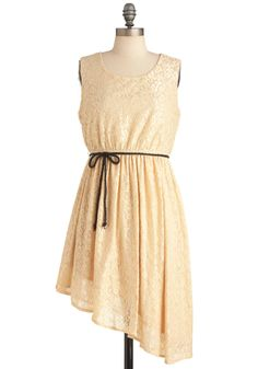 You're My Darling Angle Dress - Short, Casual, Vintage Inspired, Cream, Solid, Lace, Sheath / Shift, Sleeveless