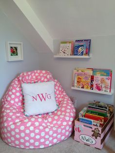 Cute little reading nook. I like the basket in addition to the rails...let's face it, she has more books than what would fit on the display!