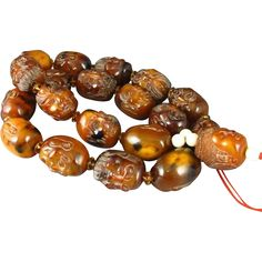 "Rare Carved AMBER Figural Face Beads Buddha Prayer 26"" Necklace"