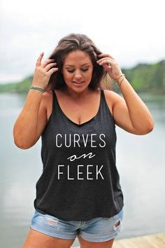 Curves on Fleek Tank Sizes L-3X Plus Size Graphic by MossandCrown