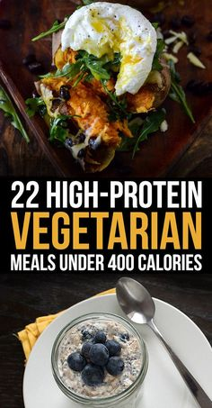 22 High-Protein Meatless Meals Under 400 Calories All the protein, none of the meat. - 22 High-Protein Meatless Meals Under 400 Calories- not all are vegan, but are meatfree Healthy Food Recipes, High Protein Vegetarian Recipes, Veggie Recipes, Healthy Snacks, Healthy Eating, Cooking Recipes, Yogurt Recipes, Healthy Tips, Low Calorie Vegetarian Meals