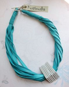 Teal Leather Statement Necklace Leather Jewelry by Kostimusha, $52.00