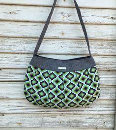 Purse-Shoulder Bag-handbag-black linen aqua green by MadebyKristyC