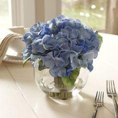 Faux Blue Hydrangea Bloom