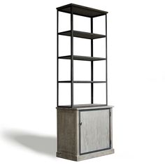 "Zentique Furniture Lincoln Cabinet.  Fusing classic European design with simple rustic charm, understated elegance defines Zentique's collection of fine home decor and furnishings. Industrial chic meets distressed, rustic wood to create the vintage-inspired Lincoln cabinet. Featuring three open metal frame shelves atop concealed storage on the bottom, this piece is perfect for displaying glassware and china in the dining room or books and collectibles in the living room.  34""W x 22""D x 104""H"