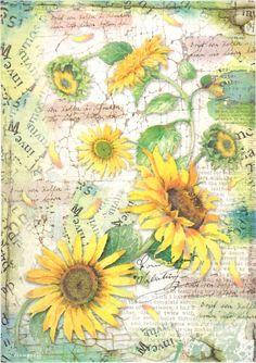 Rice Paper for Decoupage, Scrapbook Sheet, Craft Paper Sunflower