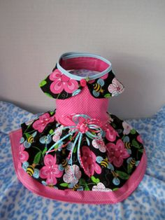 Dog Dress XXS Pink with Bees By Nina's Couture by afrodytka1224, $17.00