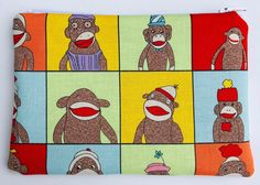 Sock Monkeys Zipper Pouch: Pop Art, Cartoons.