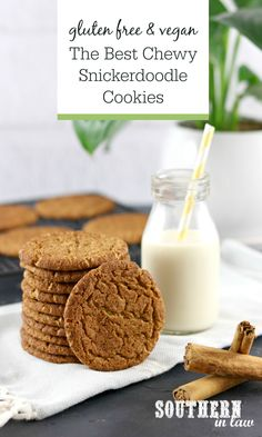 The Best Ever Snickerdoodle Cookies Recipe (Gluten Free & Vegan) - Gluten free low carb - Cookies Recipes Vegan Chocolate Chip Cookie Recipe, Gluten Free Cookie Recipes, Vegan Gluten Free, Dairy Free, Healthy Cookies, Fun Cookies, Healthy Desserts, Healthy Recipes, Recipes