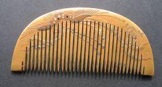Edo Japanese Kushi Hair Comb Makie Lacquer on Wood Inlay Kanzashi Geisha Kimono | eBay