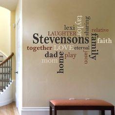VINYL Family name custom word collage vinyl wall decal